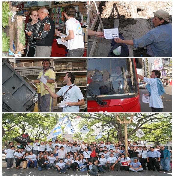 Compañeros de Capital Federal entregando la boleta de Proyecto Nacional.