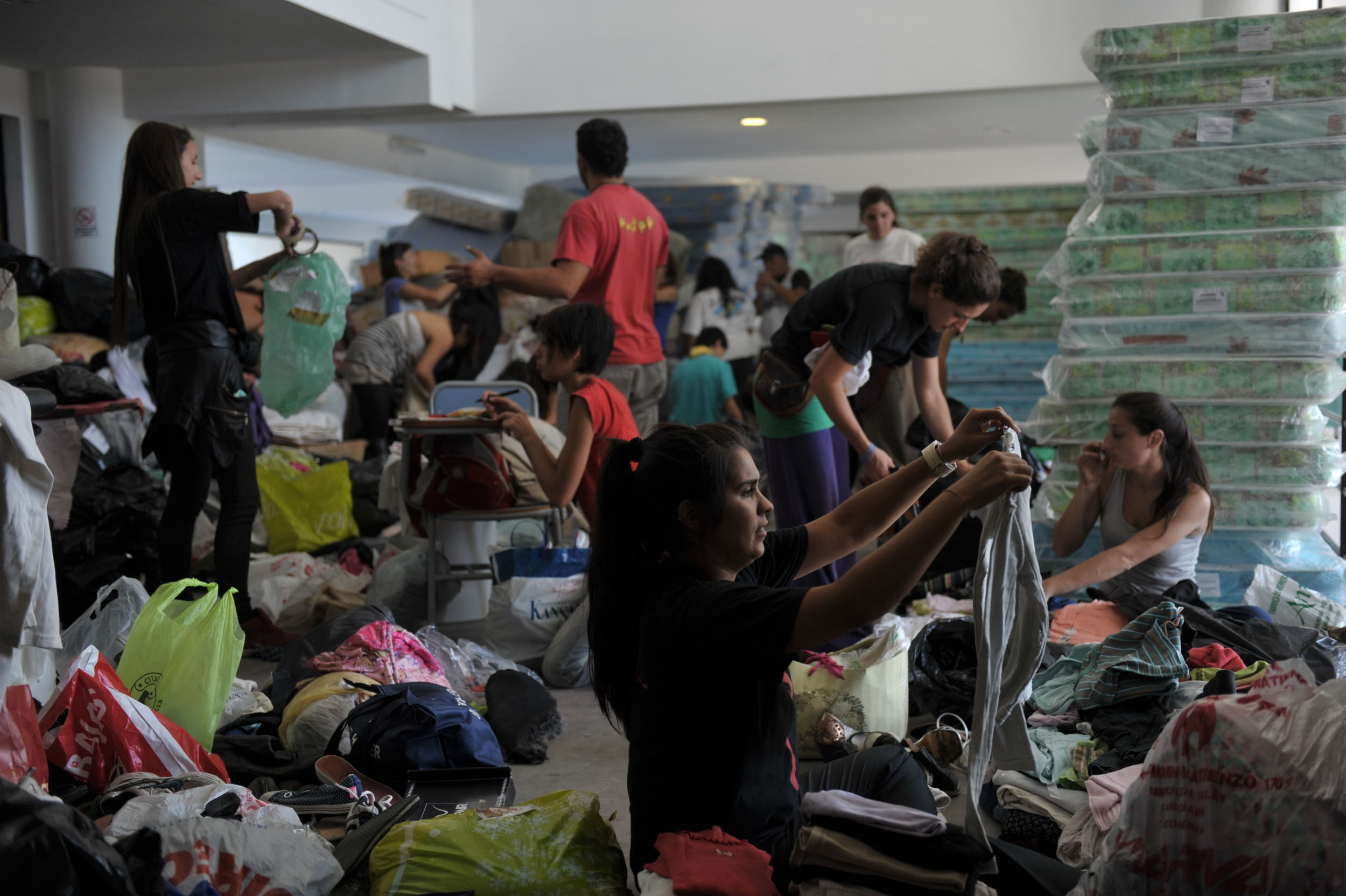 Centro de donaciones en La Plata