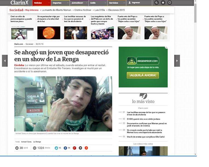 De los creadores de 'La crisis causó 2 nuevas muertes'. Para Clarín, Ismael Sosa 'se ahogó'.